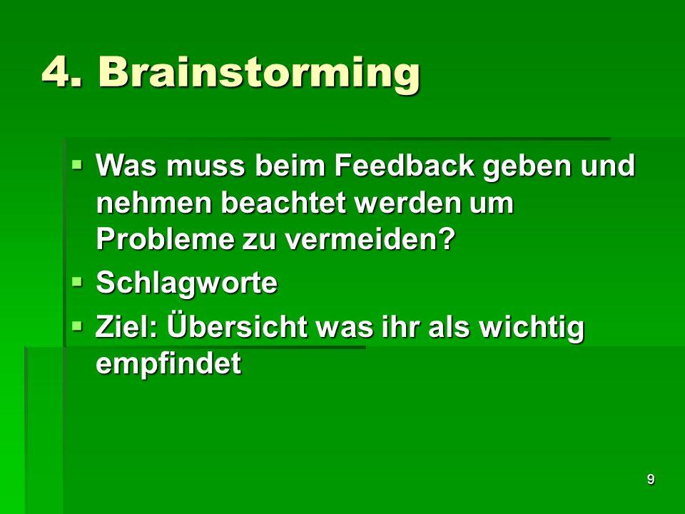 4. Brainstorming Was muss beim Feedback geben und nehmen beachtet werden um Probleme zu vermeiden Schlagworte.