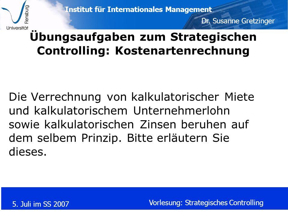 Übungsaufgaben zum Strategischen Controlling: Kostenartenrechnung