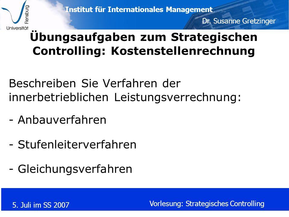 Übungsaufgaben zum Strategischen Controlling: Kostenstellenrechnung