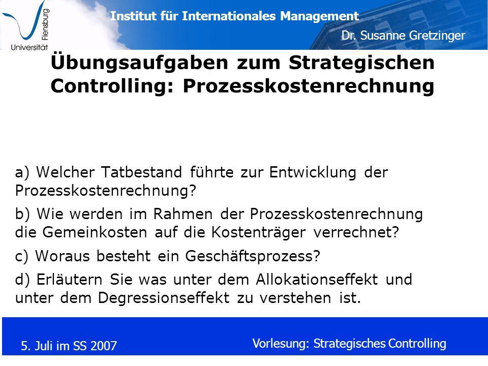 Übungsaufgaben zum Strategischen Controlling: Prozesskostenrechnung