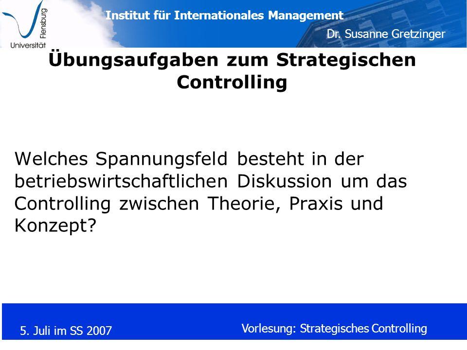 Übungsaufgaben zum Strategischen Controlling