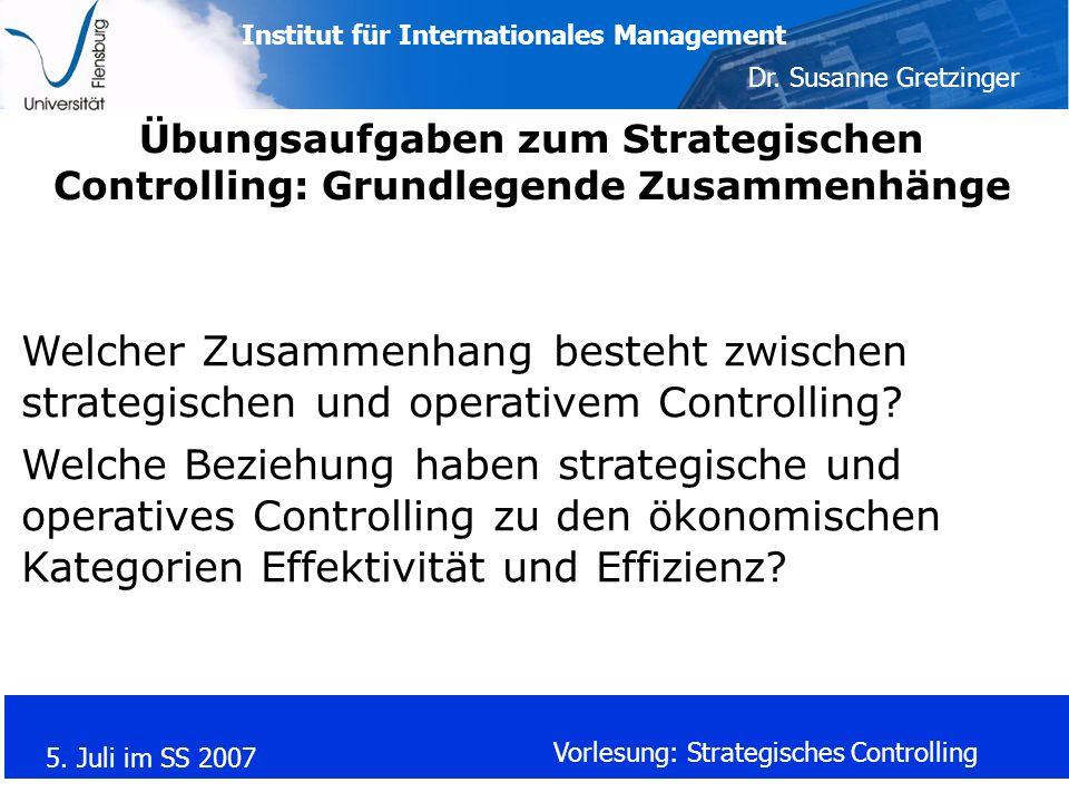Übungsaufgaben zum Strategischen Controlling: Grundlegende Zusammenhänge