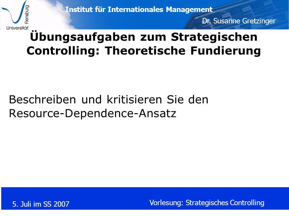 Übungsaufgaben zum Strategischen Controlling: Theoretische Fundierung