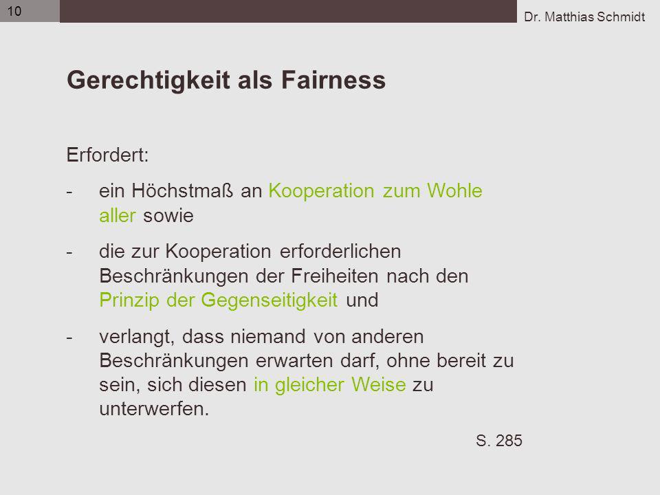 Gerechtigkeit als Fairness