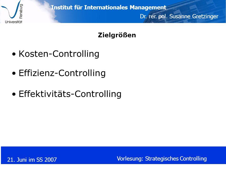 Effizienz-Controlling Effektivitäts-Controlling