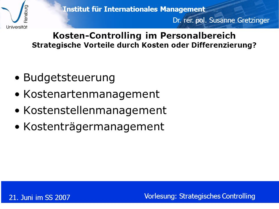 Kostenartenmanagement Kostenstellenmanagement Kostenträgermanagement