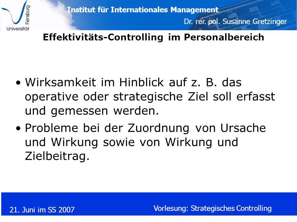 Effektivitäts-Controlling im Personalbereich