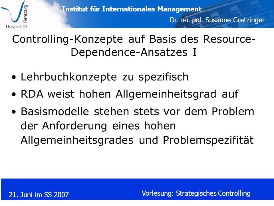 Controlling-Konzepte auf Basis des Resource-Dependence-Ansatzes I
