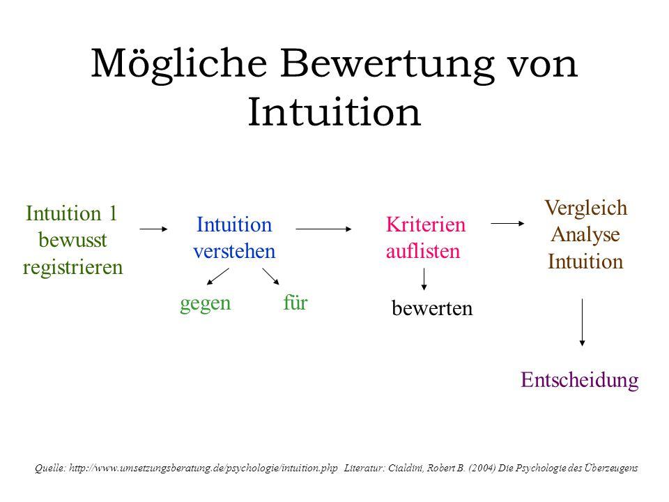 Mögliche Bewertung von Intuition