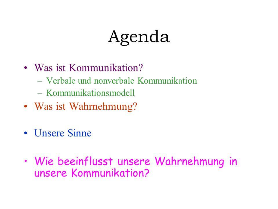 Agenda Was ist Kommunikation Was ist Wahrnehmung Unsere Sinne