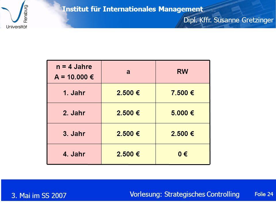 n = 4 Jahre A = 10.000 € a. RW. 1. Jahr. 2.500 € 7.500 € 2. Jahr. 2.500 € 5.000 € 3. Jahr.