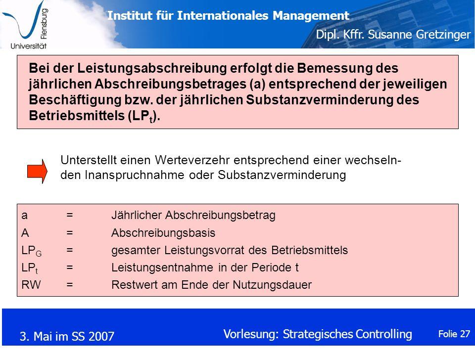 Bei der Leistungsabschreibung erfolgt die Bemessung des jährlichen Abschreibungsbetrages (a) entsprechend der jeweiligen Beschäftigung bzw. der jährlichen Substanzverminderung des Betriebsmittels (LPt).