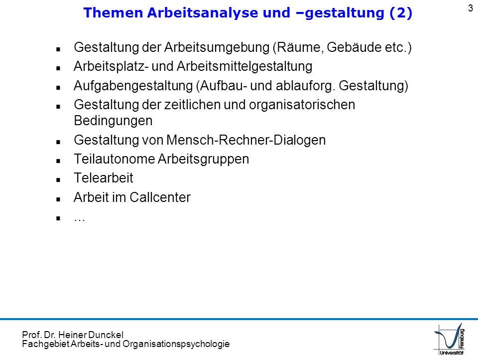 Themen Arbeitsanalyse und –gestaltung (2)