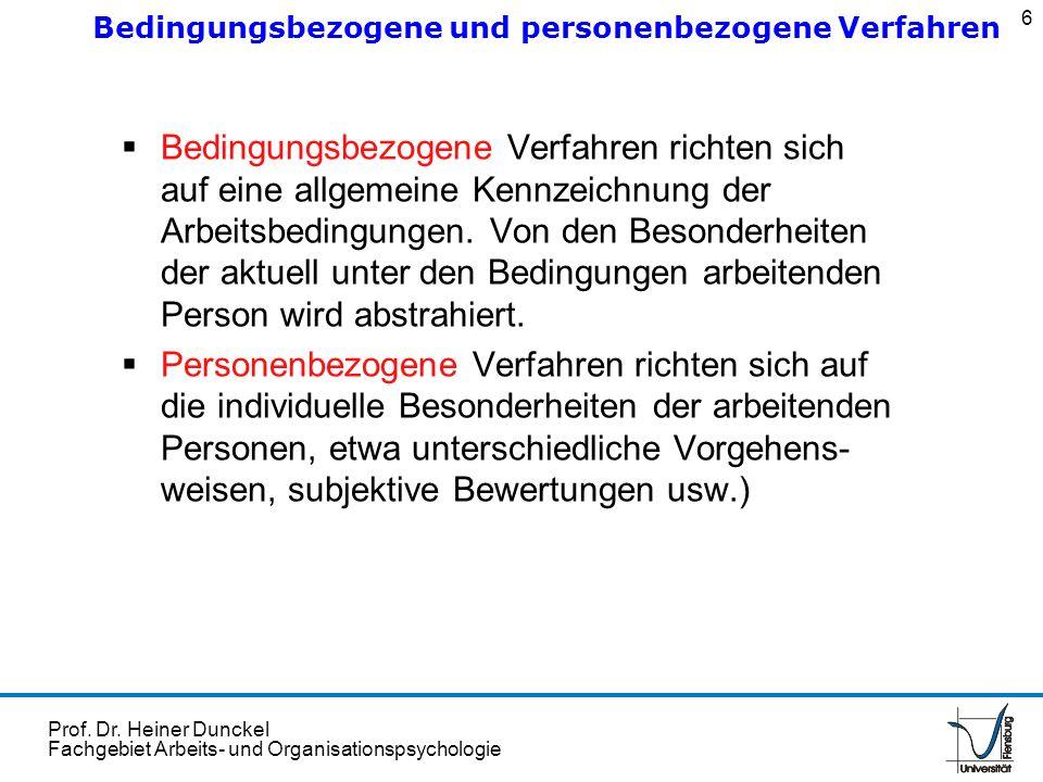Bedingungsbezogene und personenbezogene Verfahren