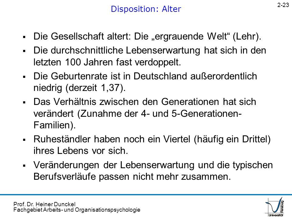 """Die Gesellschaft altert: Die """"ergrauende Welt (Lehr)."""