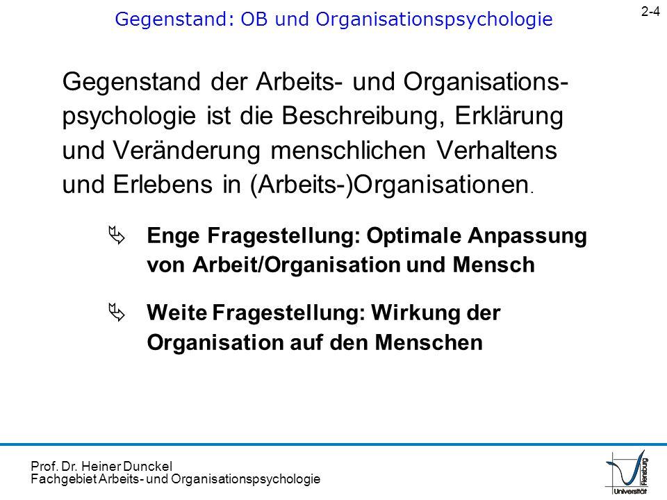 Gegenstand: OB und Organisationspsychologie