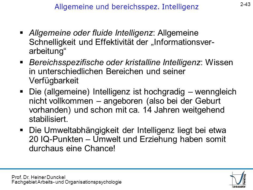 Allgemeine und bereichsspez. Intelligenz