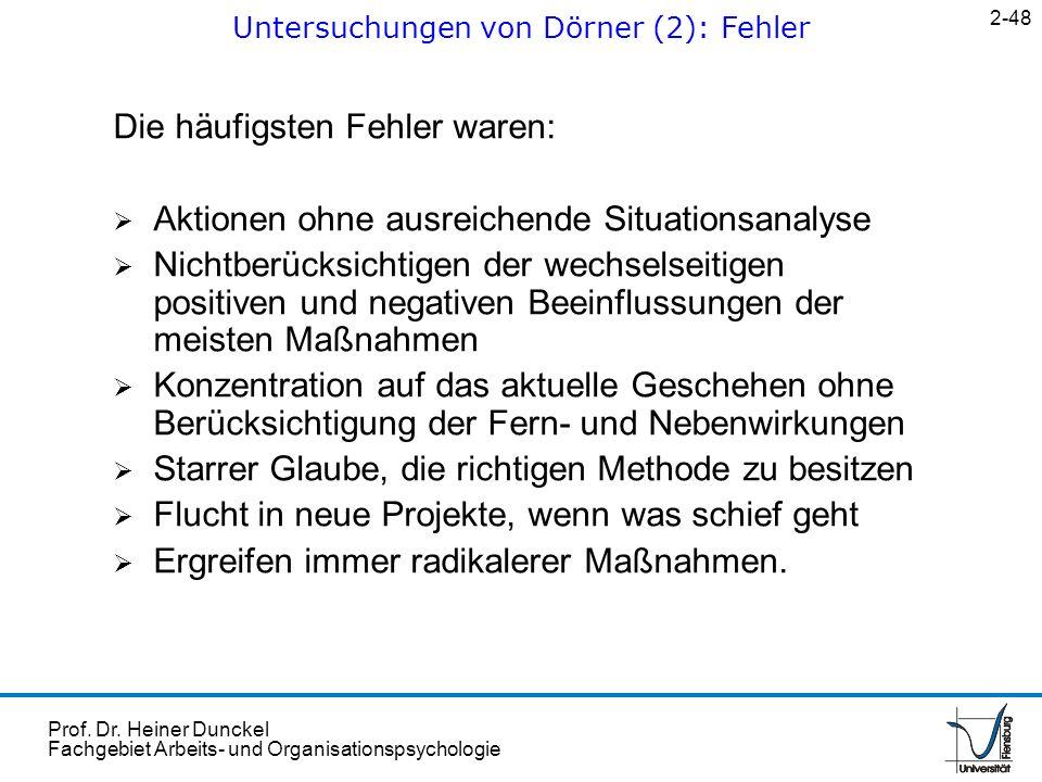 Untersuchungen von Dörner (2): Fehler