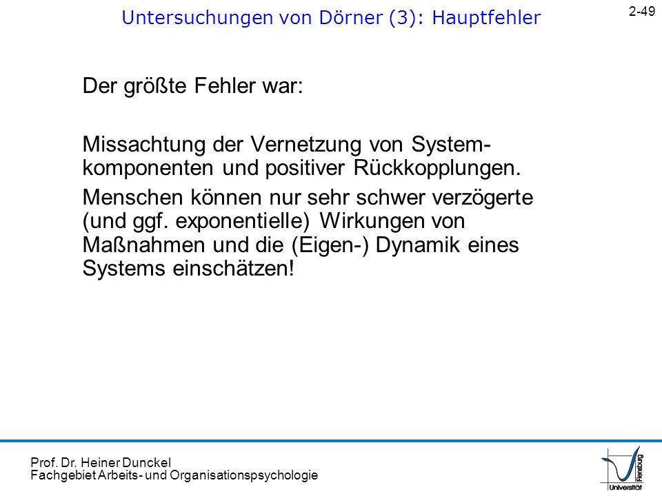 Untersuchungen von Dörner (3): Hauptfehler