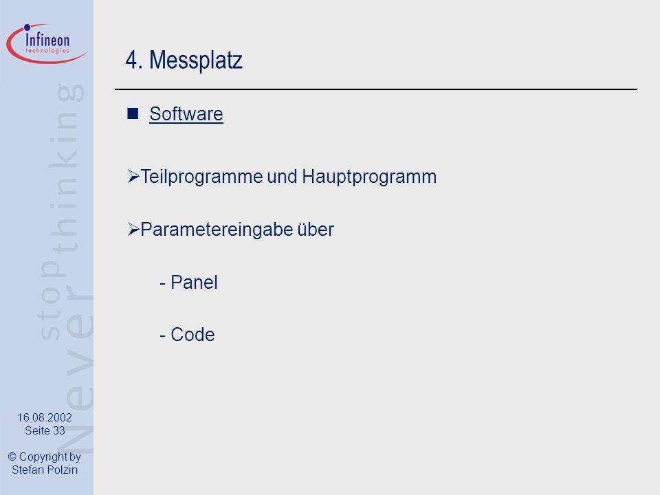 4. Messplatz Software Teilprogramme und Hauptprogramm