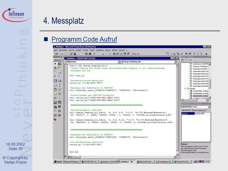 4. Messplatz Programm Code Aufruf