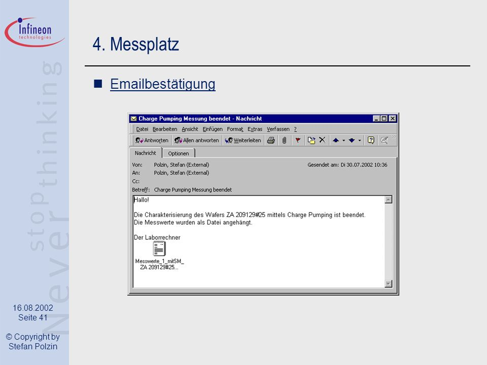 4. Messplatz Emailbestätigung
