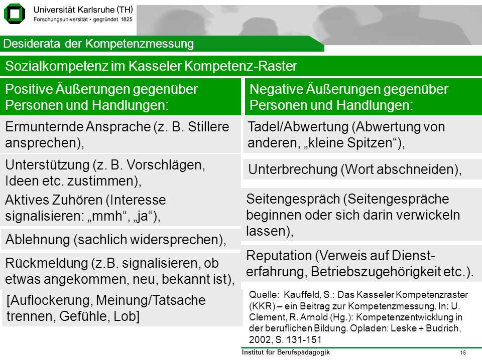 Sozialkompetenz im Kasseler Kompetenz-Raster