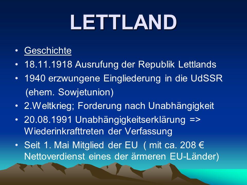 LETTLAND Geschichte 18.11.1918 Ausrufung der Republik Lettlands
