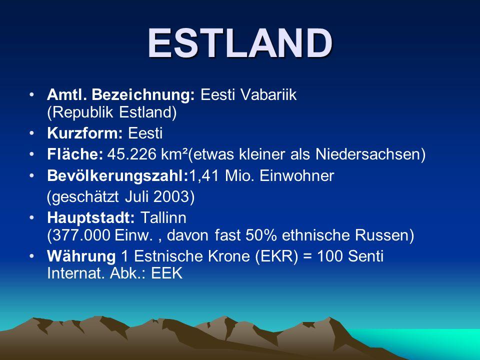 ESTLAND Amtl. Bezeichnung: Eesti Vabariik (Republik Estland)