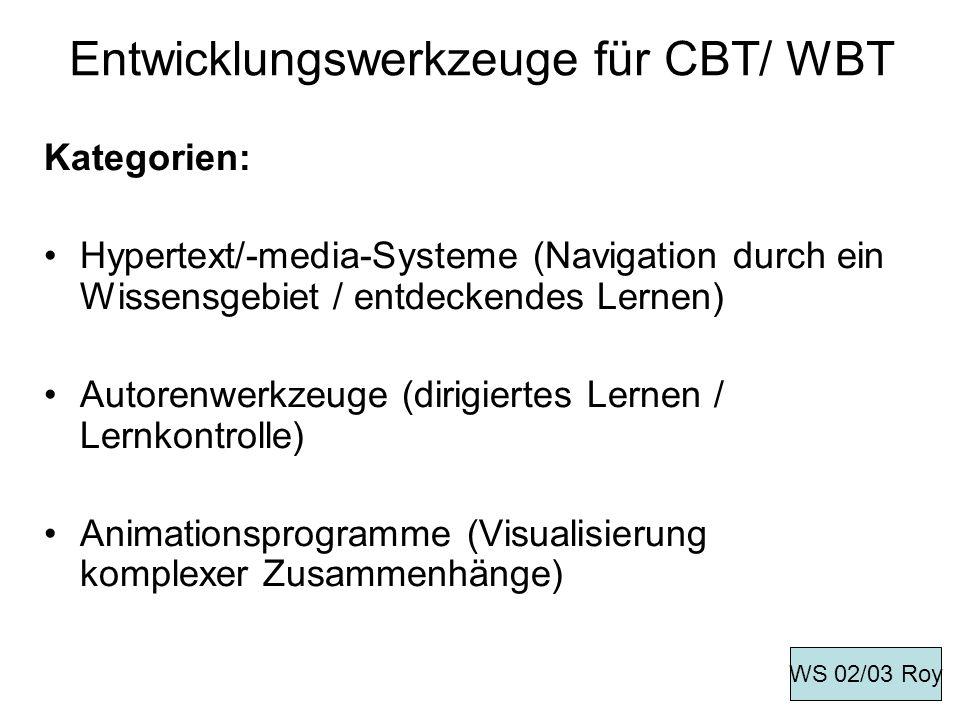 Entwicklungswerkzeuge für CBT/ WBT