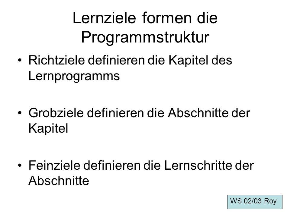 Lernziele formen die Programmstruktur