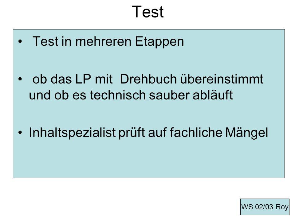 Test Test in mehreren Etappen