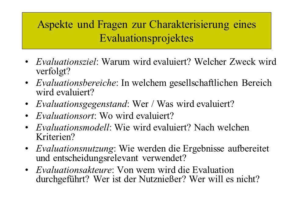 Aspekte und Fragen zur Charakterisierung eines Evaluationsprojektes