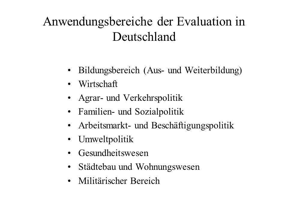 Anwendungsbereiche der Evaluation in Deutschland