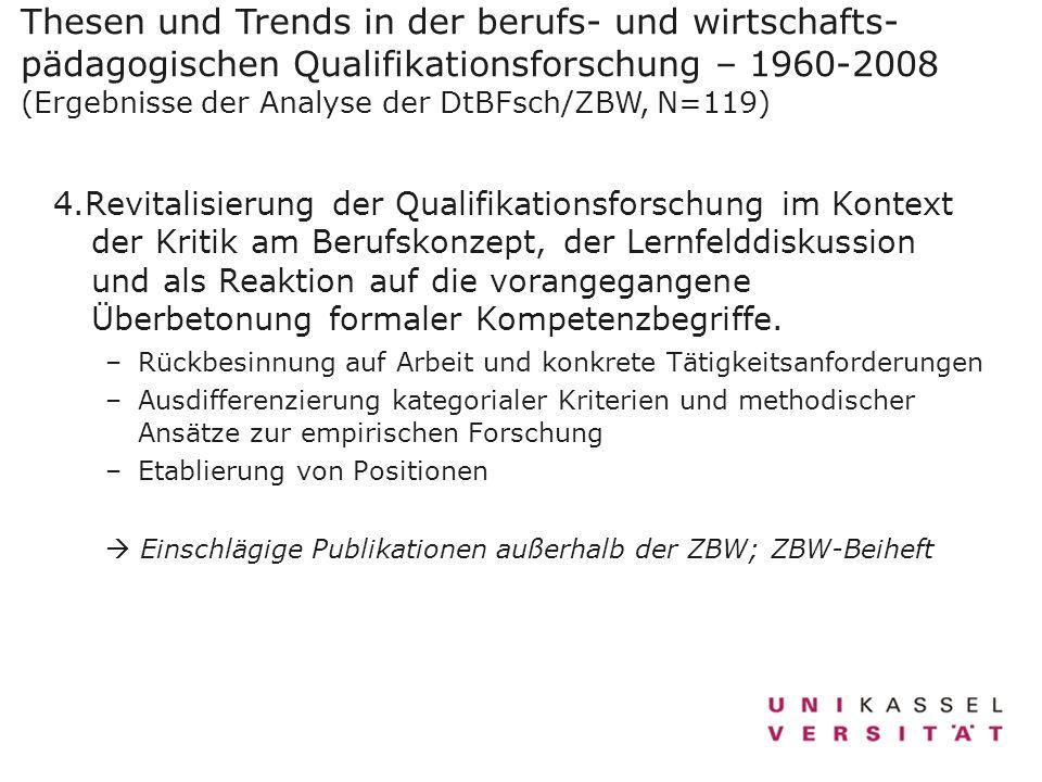 Thesen und Trends in der berufs- und wirtschafts-pädagogischen Qualifikationsforschung – 1960-2008 (Ergebnisse der Analyse der DtBFsch/ZBW, N=119)