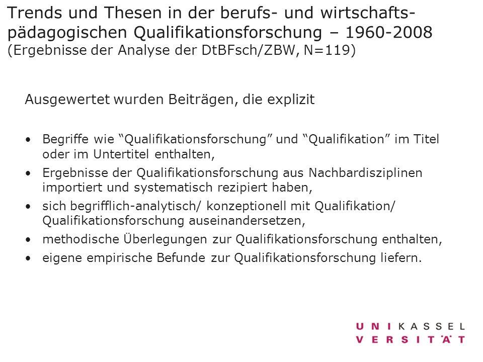 Trends und Thesen in der berufs- und wirtschafts-pädagogischen Qualifikationsforschung – 1960-2008 (Ergebnisse der Analyse der DtBFsch/ZBW, N=119)