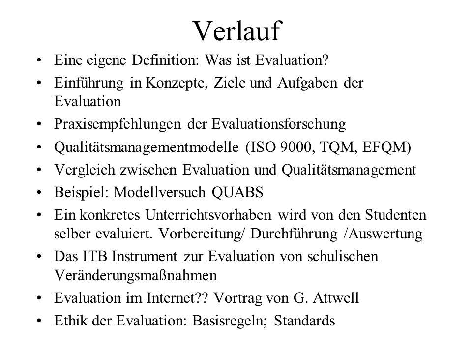 Verlauf Eine eigene Definition: Was ist Evaluation