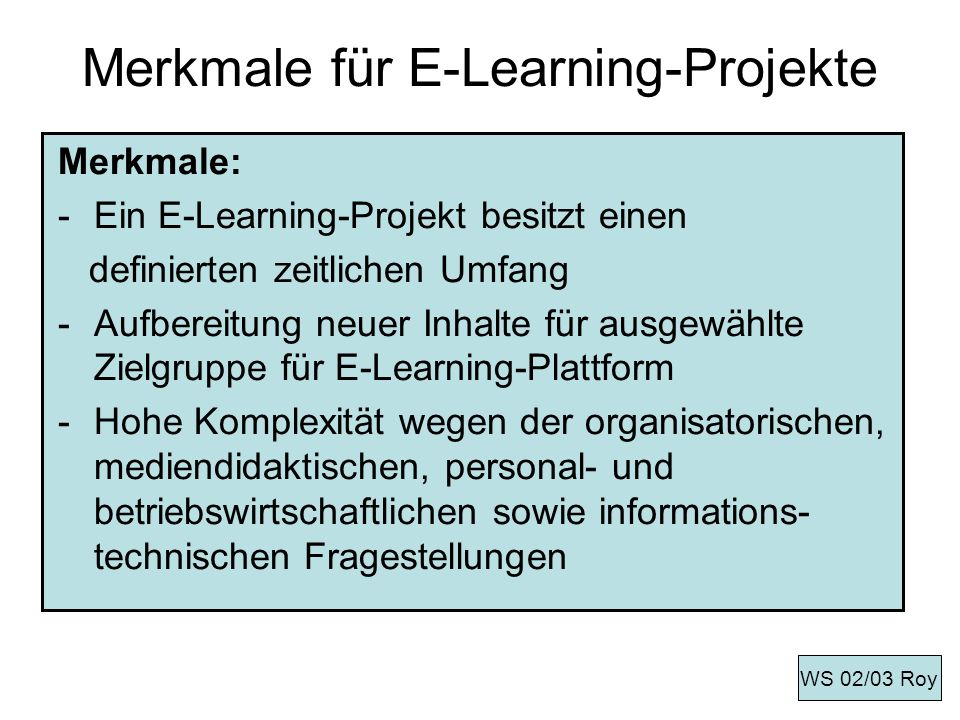 Merkmale für E-Learning-Projekte