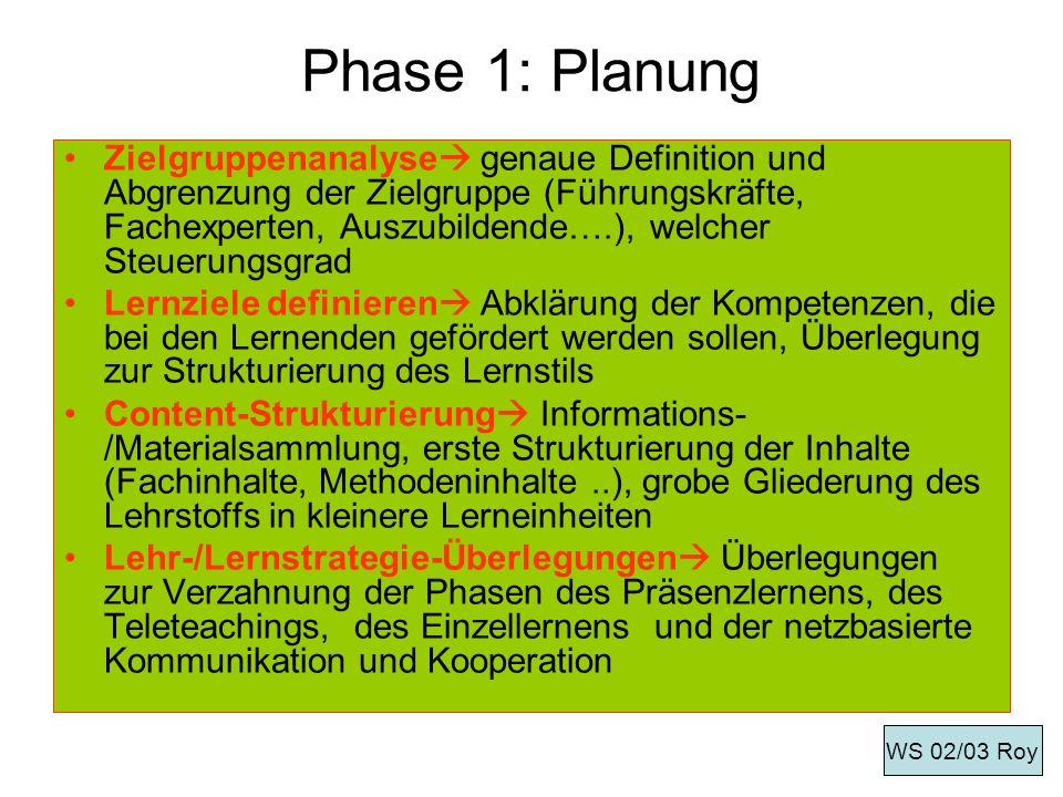 Phase 1: Planung