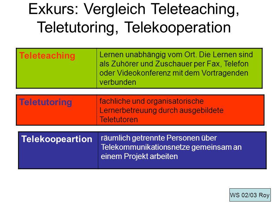 Exkurs: Vergleich Teleteaching, Teletutoring, Telekooperation