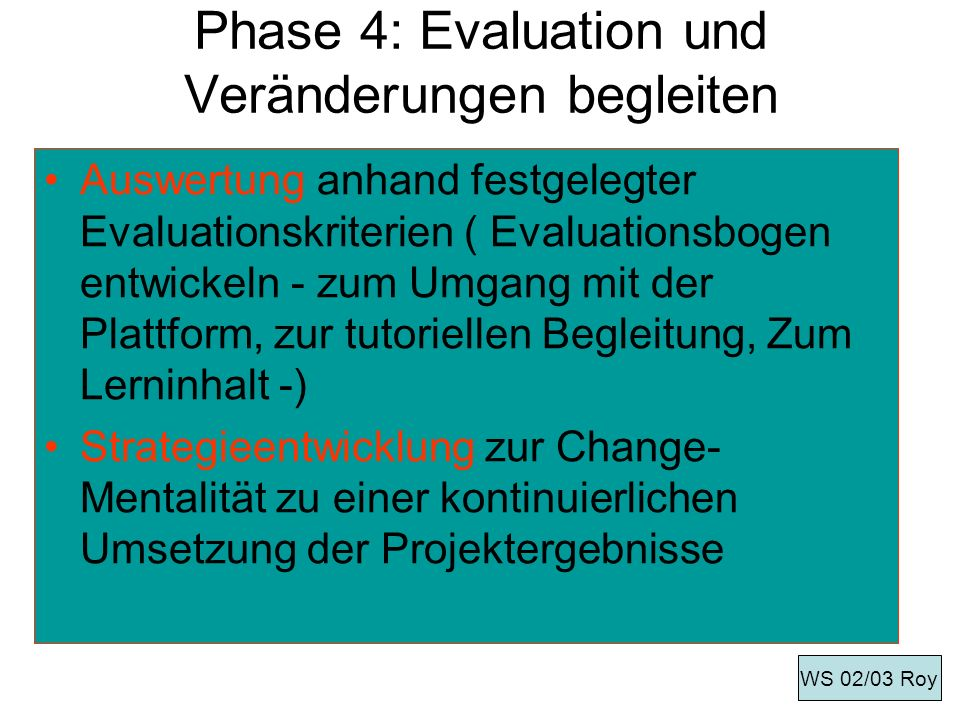 Phase 4: Evaluation und Veränderungen begleiten