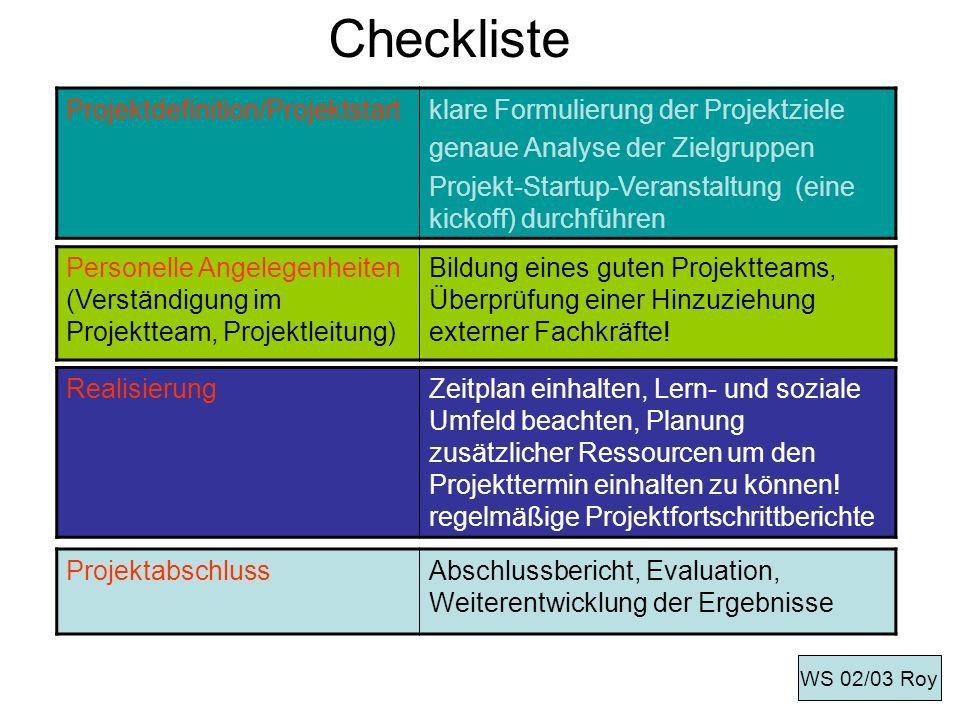 Checkliste Projektdefinition/Projektstart