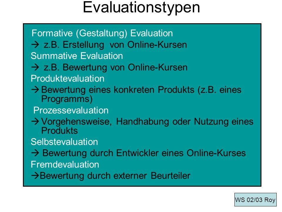 Evaluationstypen z.B. Erstellung von Online-Kursen