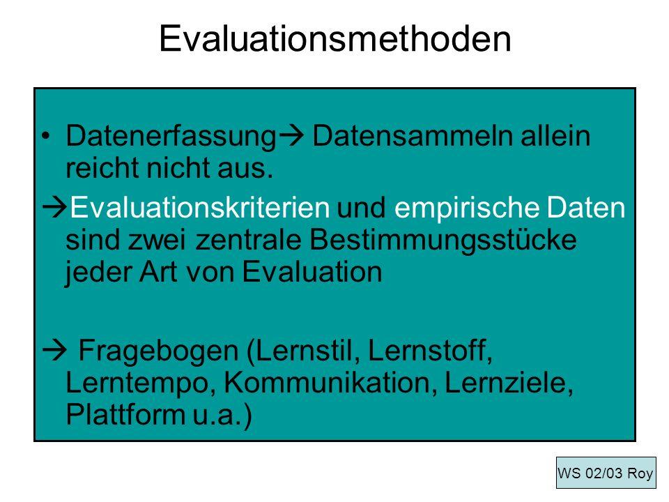 Evaluationsmethoden Datenerfassung Datensammeln allein reicht nicht aus.