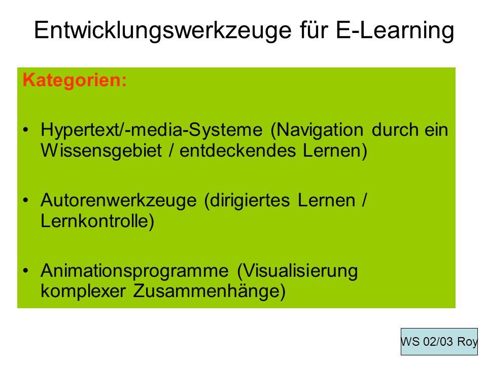 Entwicklungswerkzeuge für E-Learning