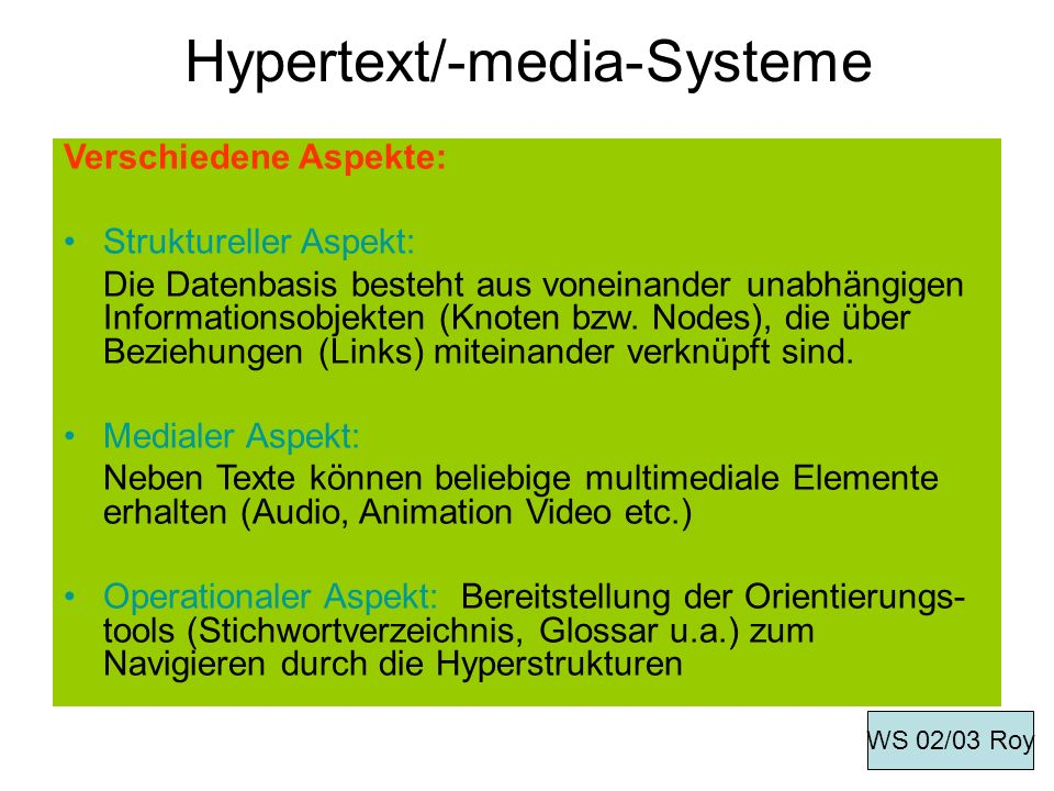 Hypertext/-media-Systeme