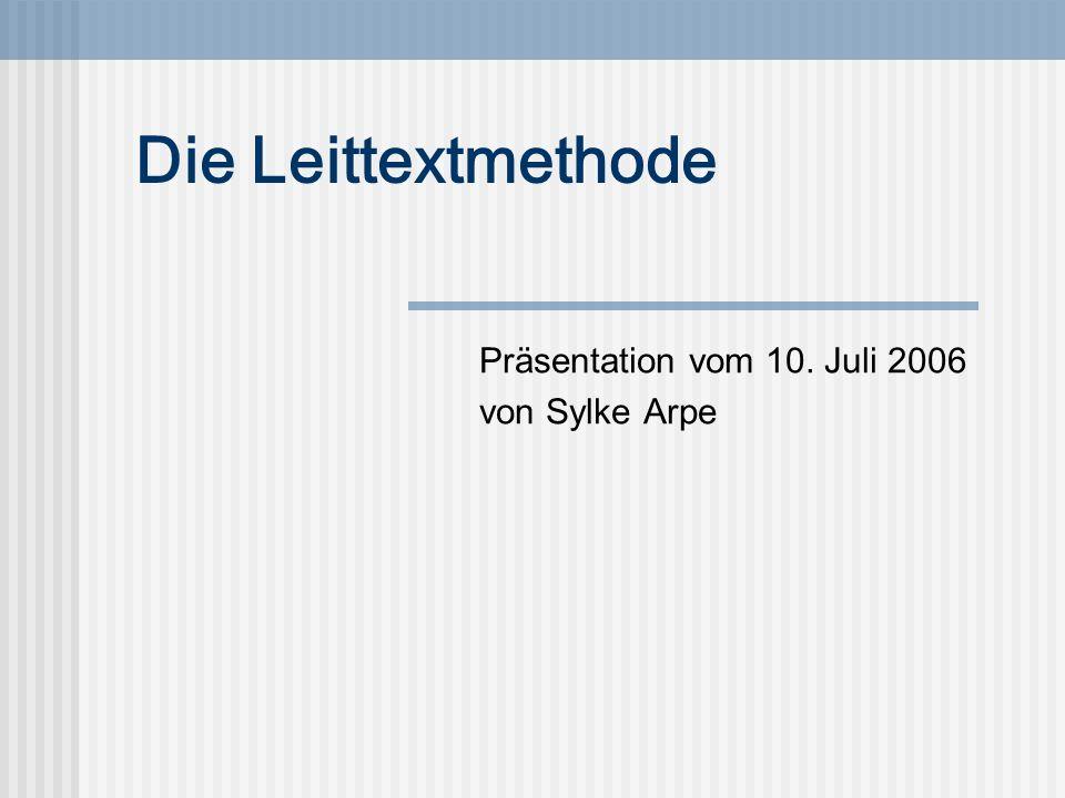 Präsentation vom 10. Juli 2006 von Sylke Arpe