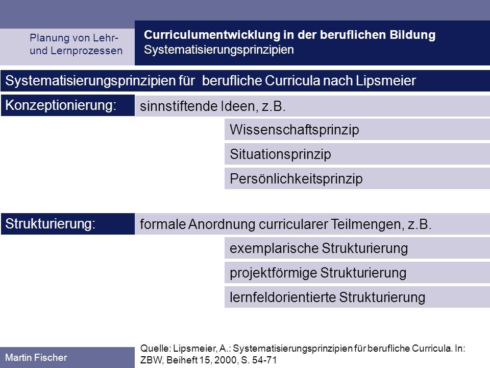 Systematisierungsprinzipien für berufliche Curricula nach Lipsmeier
