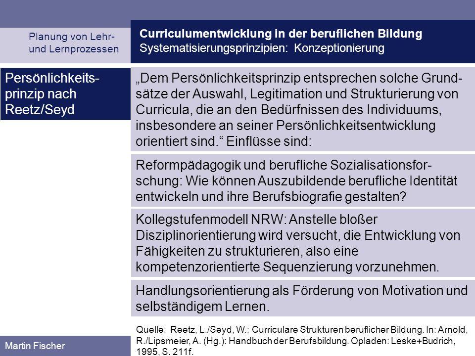 Persönlichkeits-prinzip nach Reetz/Seyd