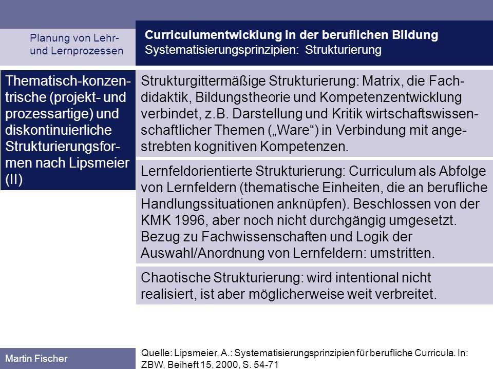 Curriculumentwicklung in der beruflichen Bildung